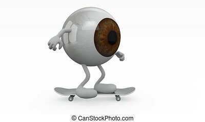 One-Eye with arms and legs skater, 3d animation