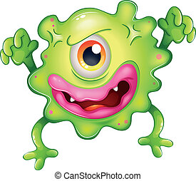 one-eyed, arrabbiato, mostro verde