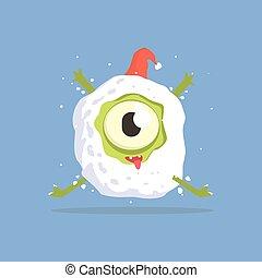 one-eyed, boule de neige, monstre vert, piégé
