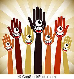 One eyed crazy face hands. - One eyed crazy face hands on a...