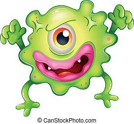 one-eyed, enojado, monstruo verde