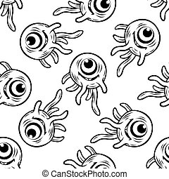 One eyed monster with tentacles seamless pattern