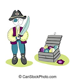 One-eyed pirate with a sword in his hand standing next to a treasure chest. Simple vector illustration for children.