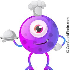 One eyed purple monster chef illustration vector on white background