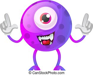 One eyed purple monster with hands in the air illustration vector on white background