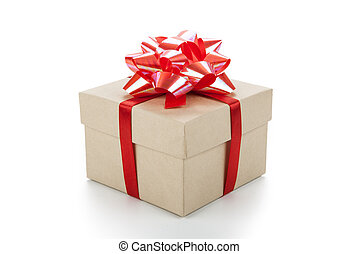 One festive gift box with a red bow on a white