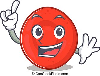 One Finger erythrocyte cell in mascot cartoon character ...