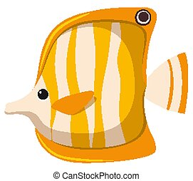 One fish in yellow color on white background