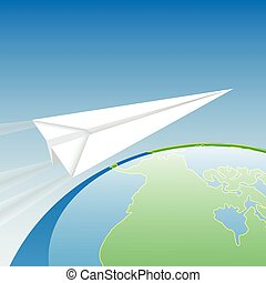 Illustration paper airplane flight over the world.