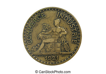 one franc; 1921; frence, coin
