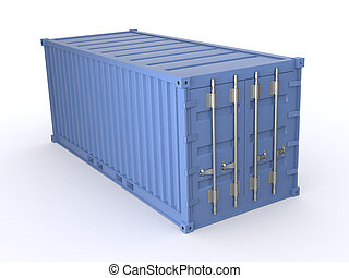 freight container - one freight container blue colored (3d...