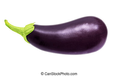 One fresh eggplant isolated on white, with clipping path