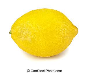 One fresh lemon isolated on white background.
