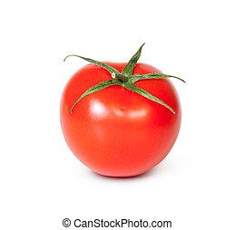 One Fresh Red Tomato Isolated On White Background