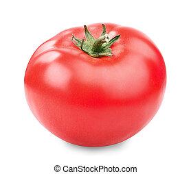 fresh red tomato - one fresh red tomato isolated on white