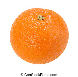 One full orange only. Isolated on white background. Close-up. Studio photography.