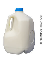 One Gallon of milk - Full Milk Bottle, isolated, clipping...