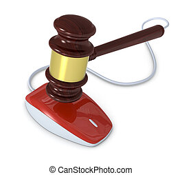 one gavel with a mouse, concept of online auction (3d render)