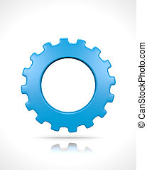 One Gear - One Single Blue Gear Isolated on White Background...