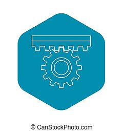One gear icon, outline style