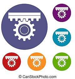 One gear icons set