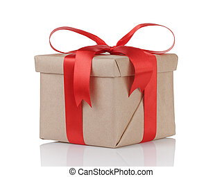 one gift christmas box wrapped with kraft paper and red bow...