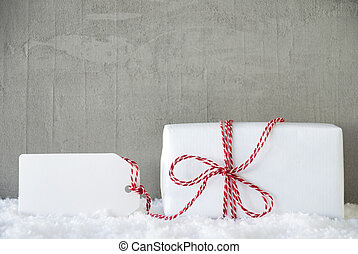 One Gift, Urban Cement Background, Copy Space