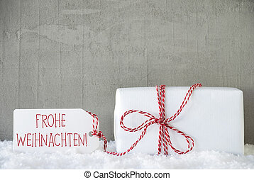 One Gift, Urban Cement Background, Frohe Weihnachten Means Merry Christmas