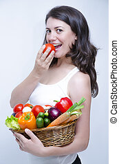 One Girl at Diet - One Girl holding a fruit basket