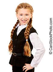 one girl - Portrait of a ten years schoolgirl wearing...