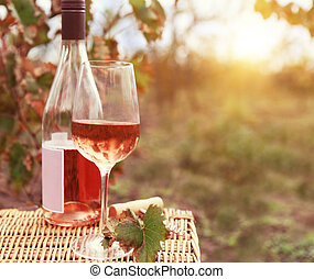 One glass and bottle of the rose wine in autumn vineyard....