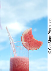 water melon juice - one glass of water melon juice against...