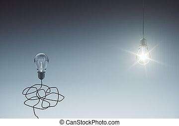 One glowing lightbulb