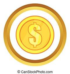 One gold coin vector icon