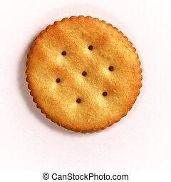 one golden round butter cracker over white