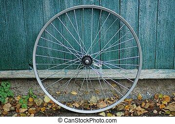 one gray metal bicycle wheel