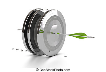 one green arrow hitting the center of three metal targets and penetrate through them, 3d render over white background with shadow