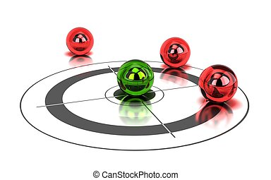one green ball hitting the center of a target and tree red balls around it - image is over a white background