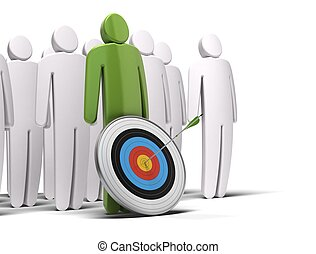 one green character in front of a crowd of white characters,there is a target with an arrow hitting the bull's eye, white background