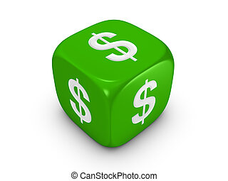 green dice with dollar sign - one green dice with dollar...