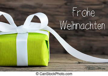 One Green Gift, Bow, Frohe Weihnachten Means Merry Christmas
