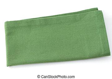 one green napkin on white background