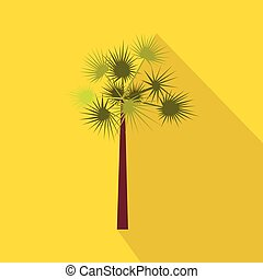 One green palm tree icon, flat style