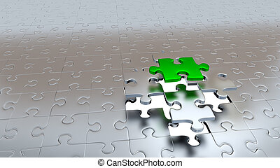One Green Puzzle Piece escaping from Four other Silver Pieces