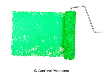 One green trace of painting against a white background
