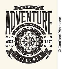 (one, groot, color), ouderwetse , typografie, avontuur