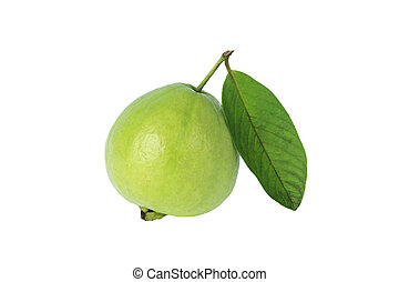a guava with leaf isolated on white background