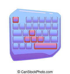 One Hand Gaming Keyboard, Gaming keypad, Mini Gaming Keyboard on isolated background, bright flat icon in lilac and red colors