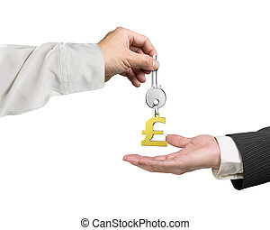One hand giving key pound symbol keyring to another hand, 3D rendering