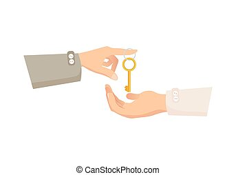 One Hand Giving Key to Another. Process of Buying